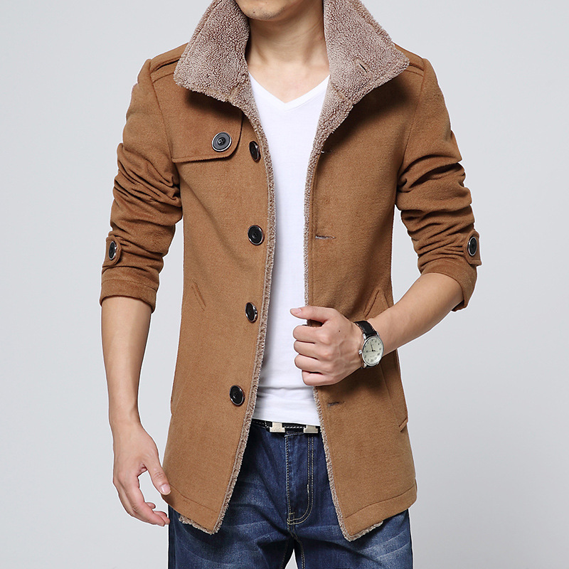Men Long Wool No Cap Pocket Coat Warmth Windproof Jackets And Coats Slim Fit Windbreaker High Quality Trench Coat Men Plus Size