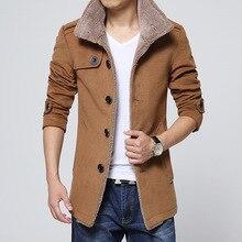 Men Long Wool no cap pocket Coat warmth windproof Jackets And Coats Slim Fit Windbreaker High Qualit