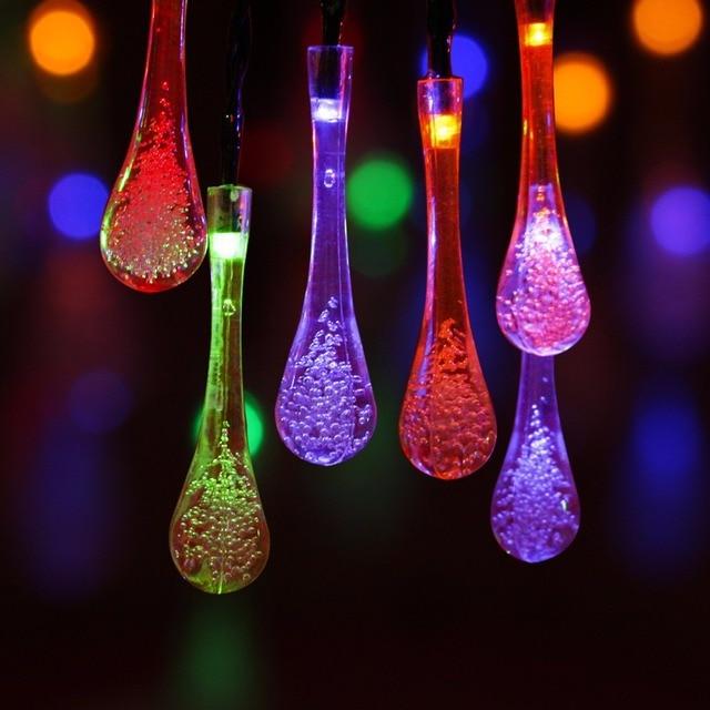 raindrop solar string lights rgb 30 leds 5m led christmas lights outdoor for garden decoration outdoor - Led Christmas