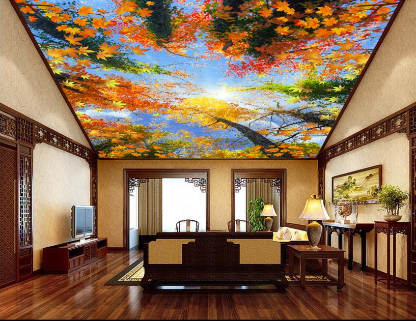 Customized 3d ceiling wallpaper forest sky ceiling 3d ceiling stickers non woven 3d wallpaper ...