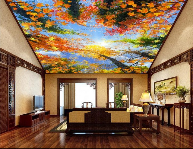 Customized 3d ceiling wallpaper forest sky ceiling 3d for 3d ceiling paper