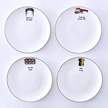 Black strokes Creative Tableware Bone China Plates, 21cm Dessert Plate Salad Plate Cutlery Tray, Free Shipping!