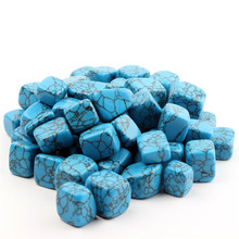 200g/lot Blue Howlite Feng Shui Chakra natural Tumbled Stone Crystal Healing point beads Reiki Free Pouch