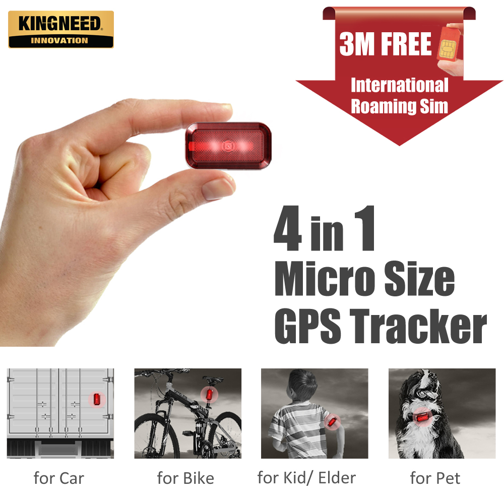 KINGNEED T630 mini gps tracker micro hidden pet kids dog cat personal card vehicle gsm with free APP locator tracking device image