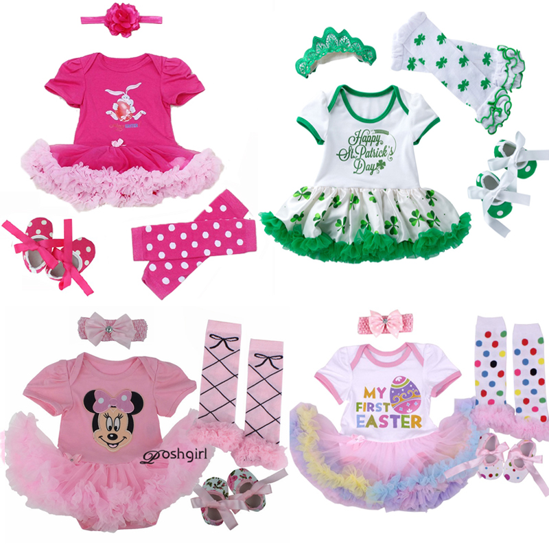 4pcs/set Easter Rabbit Baby Girls Clothes Jumpersuit+socks+band+shoe Independence Day Bebe Gift First Rompers Costumes 3 6 9 12m A Great Variety Of Goods Mother & Kids Girls' Baby Clothing
