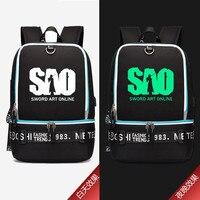 0fde49de8046f 2019 High Quality Anime SAO Sword Art Online Cosplay Prinitng Backpack  Women Shoulder Bags USB Charging