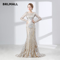 2018 Illusion Evening Dresses Sexy Mermaid Custom Made Scoop Long Sleeve Lace Sequins Cheap Plus Size Formal Prom Gowns