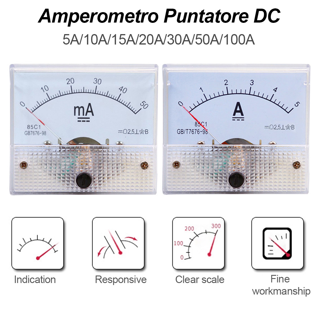 Gauge Tools DC Analog Pointer Current Meter Panel 5A/10A/15A/20A/30A/50A/75A/100A Current Mechanical Ammeters