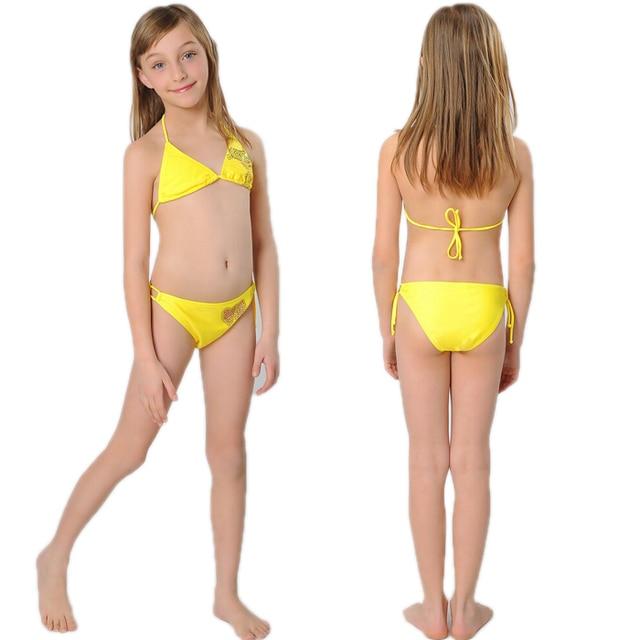 Fashion Kids Little Girls Two Pieces Triangle Bikini Set -7917