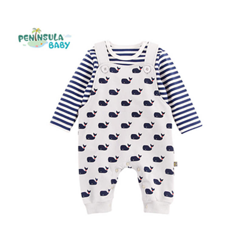 Autumn Spring Cotton Baby Rompers Newborn Girl Clothes Set 2Pcs Long Sleeve Cartoon Ocean Pattern Boys Jumpsuit Overalls Suit