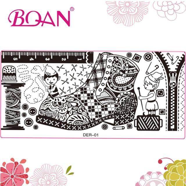 10pcs/lot BQAN Big Shoes Paradise Pattern Manicure Tools Nail Plate ...