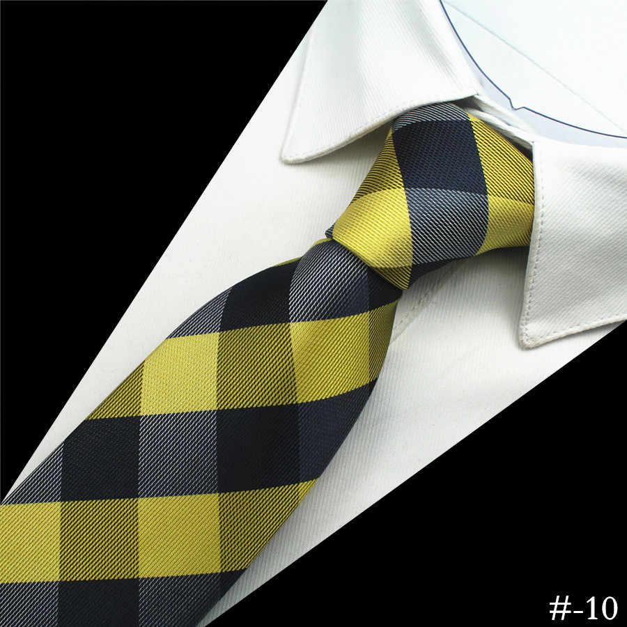 Ricnais 1200 iğneler kalite % 100% İpek erkek bağları ekose çizgili boyun bağları klasik giyim İş düğün Gravatas