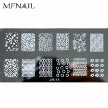 JR-11 6*12cm Rectangle Nail Stamping Plates Lace Flower Star Pattern Nail Art Stamp Stamping Template Image Plate Stencils 1pcs недорого