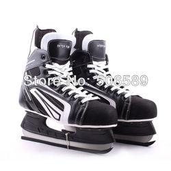 Хоккейные коньки черного цвета 507, бесплатная доставка