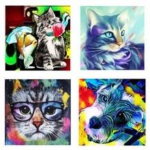 Full Square Diamond 5D DIY Painting Colorful Cat 3D Embroidery Cross Stitch Rhinestone Mosaic Decor