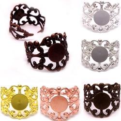 10PCS  Adjustable FILIGREE RING BASE BLANK, Ring base Setting ANTIQUE BRONZE/Rhodium Silver/Rose Gold Findings  DIY Jewerly