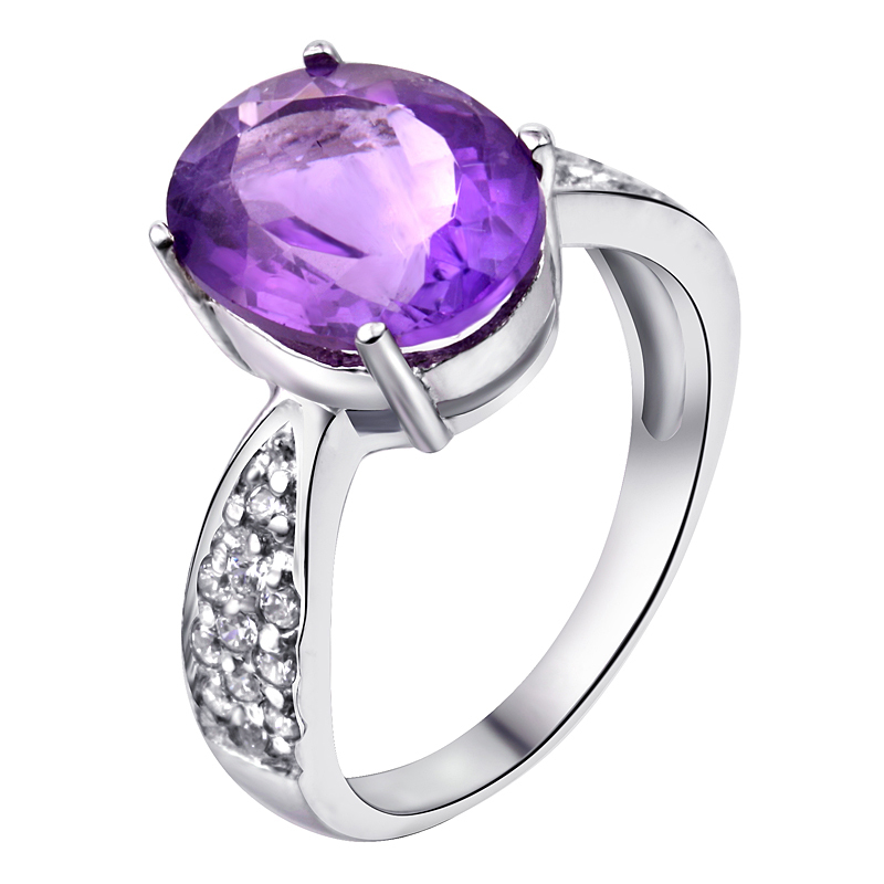 Natural Amethyst Ring 925 Sterling silver Oval Purple Crystal Woman Fashion Fine Elegant Jewelry Queen Birthstone Gift SR0182A natural green peridot ring 925 sterling silver crystal rose gold plated woman fashion fine elegant jewelry queen birthstone gift
