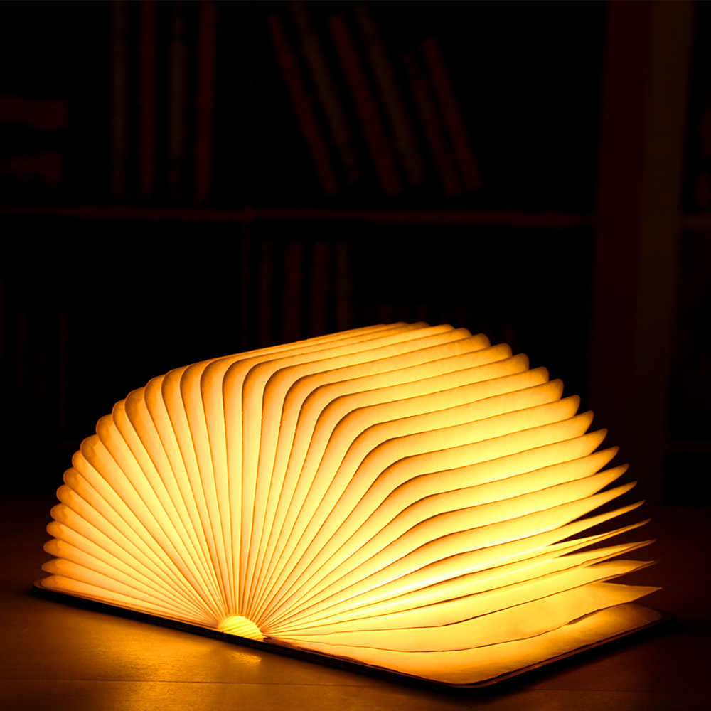Rechargeable Folding Book Light Wooden Light Book Lamp Led Folding Wooden Book Figurines Bedroom Valentines Day Decoration Craft (2)