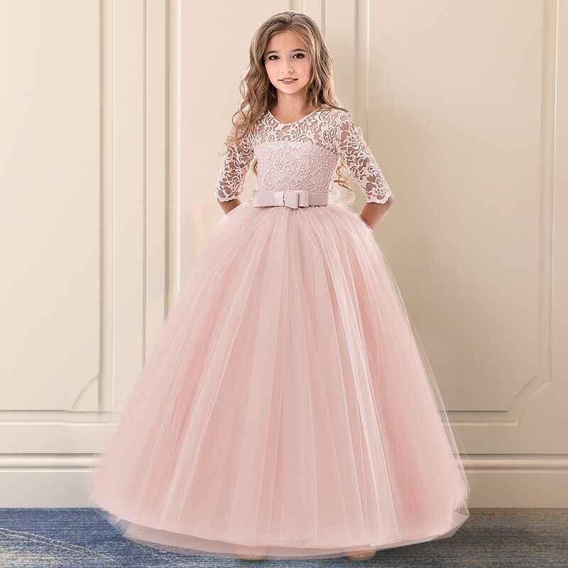 093be0d44 Adolescentes niños niñas exquisito comunión vestido de encaje niños baile  ceremonia vestido princesa elegante Party vestidos