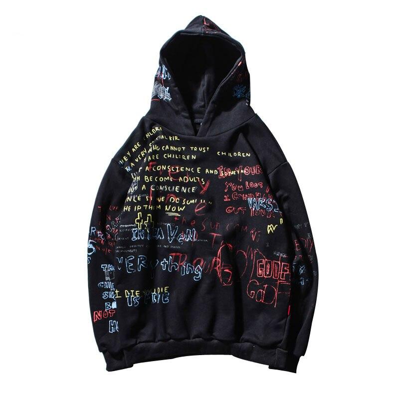 Hip hop Graffiti Hoodies Hommes 2018 Automne décontracté pullover sweaters À Capuche Mâle Mode Planches À Roulettes Shirts