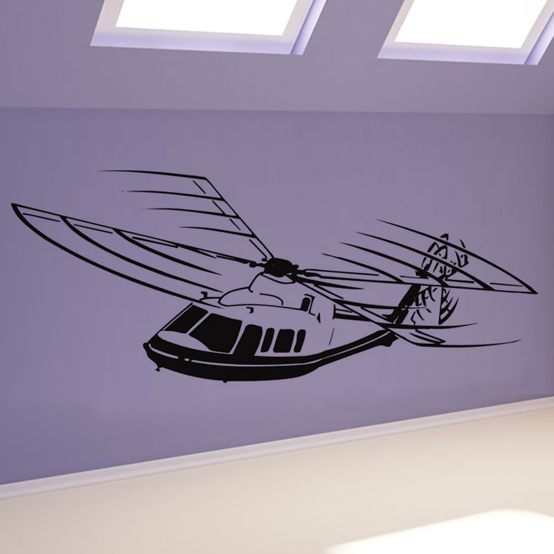 New Factory Price Vinyl Wall Decal Airplane Removable Home Decor Helicopter Wall Stickers Kids Bedroom Hot Sale HT3340