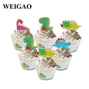 Image 5 - WEIGAO 恐竜誕生日パーティー使い捨て食器セット子供動物誕生日パーティーの装飾紙バナー/カップ/プレート用品