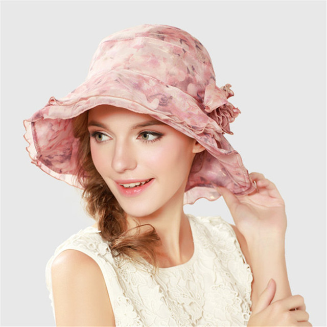 665f23e7968 Kenmont Summer Women Girl Flower Printed Floral Wide Brim Elegant Lace Sun  Protection Vacation Beach Hat