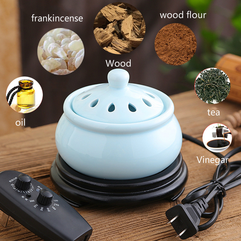Timing Electric Plug Ceramic Perfume Diffuser Aromatherapy Furnace Powder Incense Essent ...