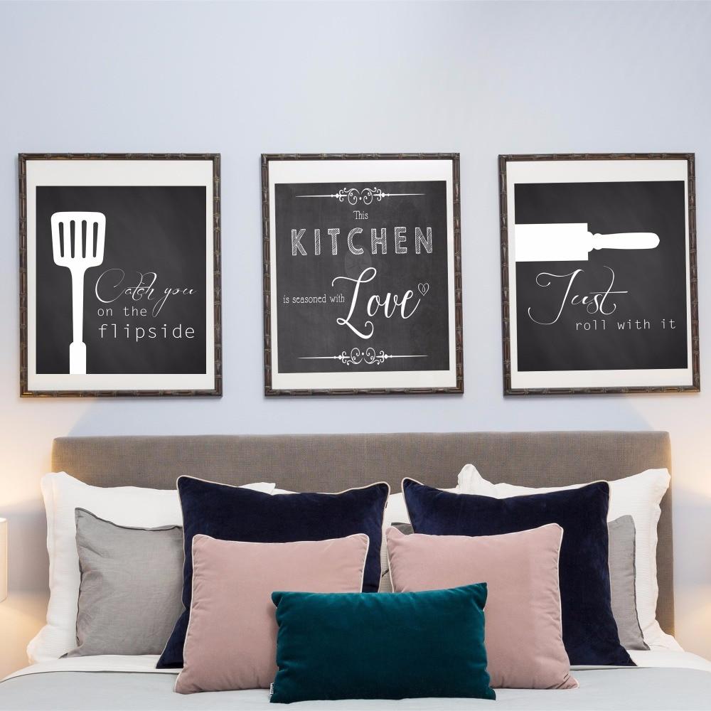 3 Pieces Cuisine Amour Toile Art Imprimer Triptyque Peinture