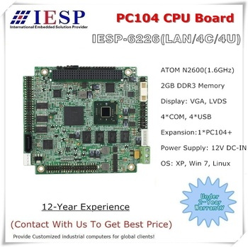PC104 CPU Board, industrial single board computer, Onboard N2600 CPU, onboard 2GB DDR3 RAM,1*PC104 Plus, 4*COM, 4*USB2.0