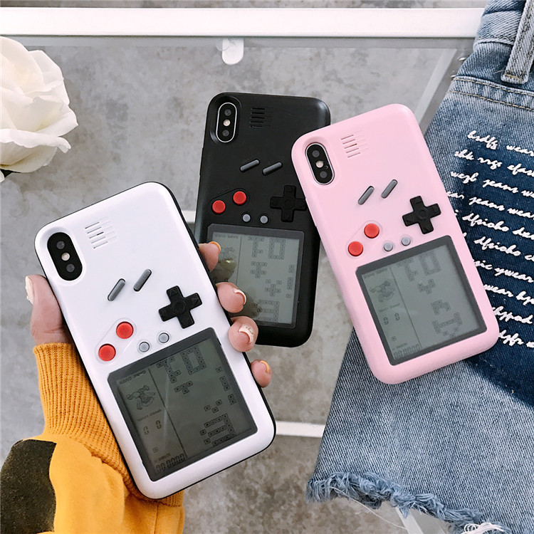 Creative Gameboy Cell Phone Case Playable Case with Built-in Tank War Tetris Game Phone Case
