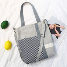 Casual Women Canvas Student Art Single Shoulder Bag Harajuku Style Simple Shopping Travel Tote WML99