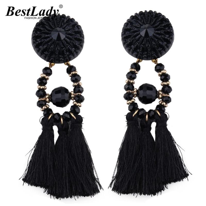 Best lady 2017 New Arrival Beads Long Big Earrings Tassel Wedding Drop Earrings Dangle Women Wholesale Statement Jewelry 4185