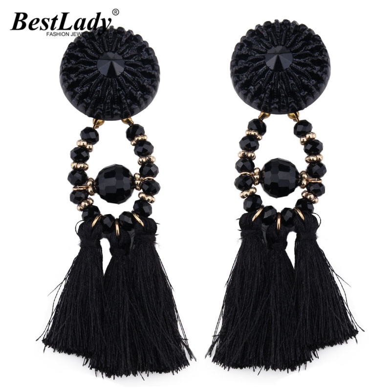 Best lady 2017 New Arrival Beads Long Big Earrings Tassel Wedding Drop Earrings Dangle Women Wholesale Statement Jewelry 4185