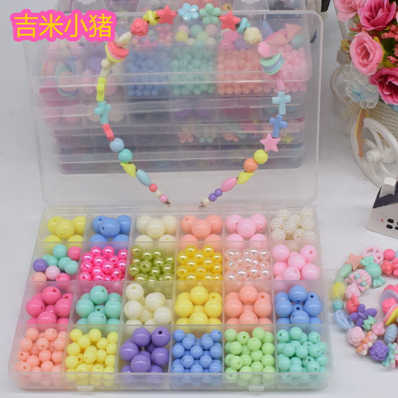 24 Grid Beads Toys For Children Lacing Necklace Bracelet Making Jewelry Girl Gift Needlework Material Set Creativity Wholesale