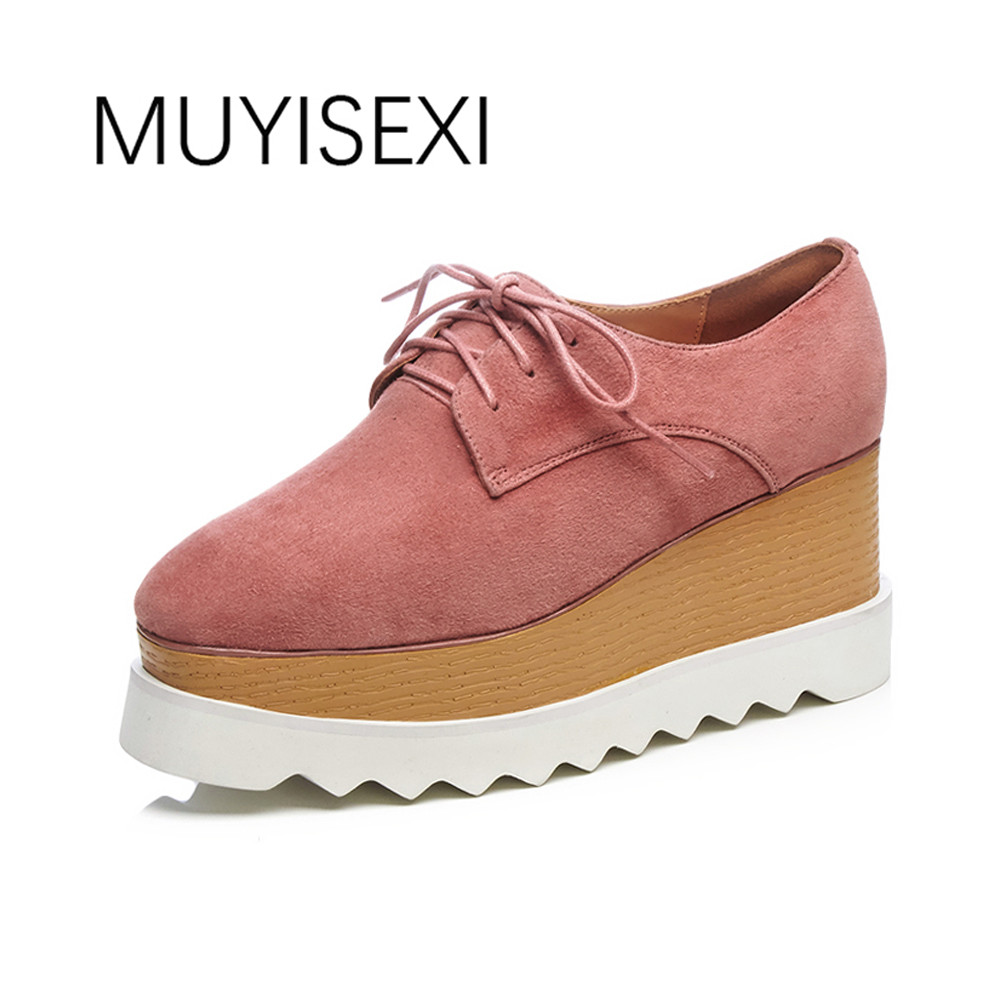 Women Platform Shoes Casual Sneakers Genuine Leather Suede Square Toe Lace-Up Women's Flat Pink Black 33-42 BB04 MUYISEXI muyisexi solid genuine leather with 3d flower loafers sneakers flat height increase casual women shoes gray black plus size bs01