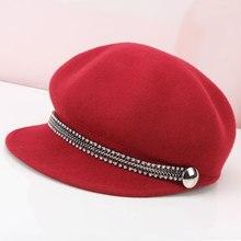 Леди шерсть Козырьки Шляпы девушки мода Шерстяная кепка Досуг Леди Конный кепка Мужчины Женщины шерстяные Козырьки Шляпы B-8939