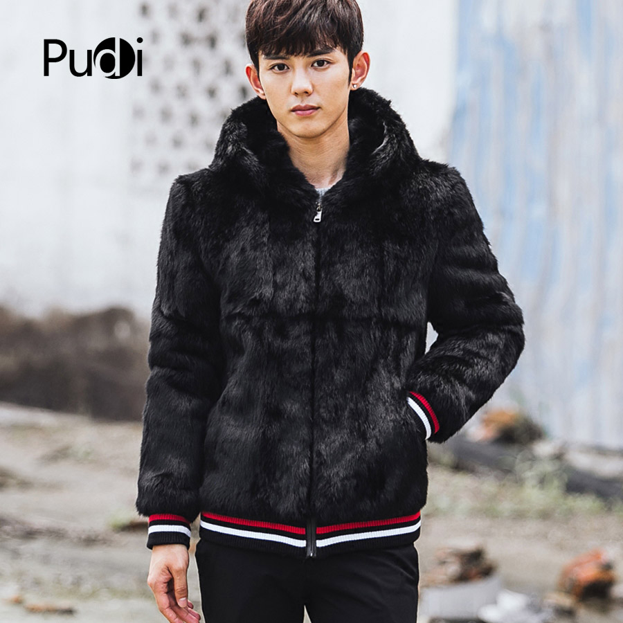 3105a8e2552 CR086 genuino de los hombres abrigos de piel de conejo real piel chaquetas  abrigos color negro con piel con capucha