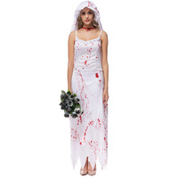 Halloween Purim Costumes for Women White Blood Zombie Corpse Bride Costume Cosplay Dress Horror Scary Clothing for Adult Woman