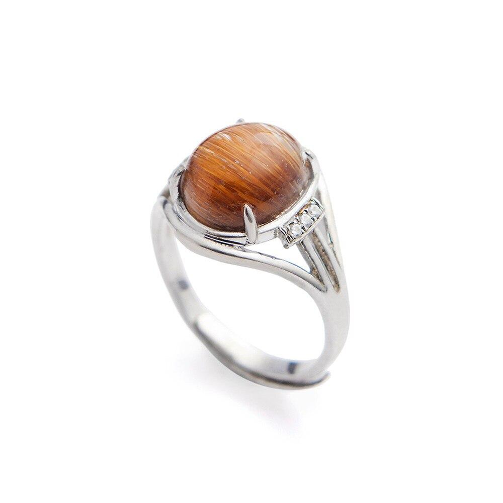 Натуральная драгоценный камень в кольца натуральный Медь Rutilated Кварцевый камень 925 пробы Серебряное кольцо для Для женщин свадебные Обруче