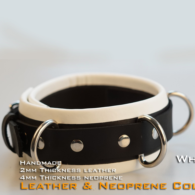 (RD1117)Luxury Customize Handmade 2mm Thickness Leather 4mm Thickness Neoprene Collar White Fetish Wear