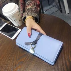 Простой пряжкой кожаный бумажник Для женщин Женские Кошельки отделение для монет