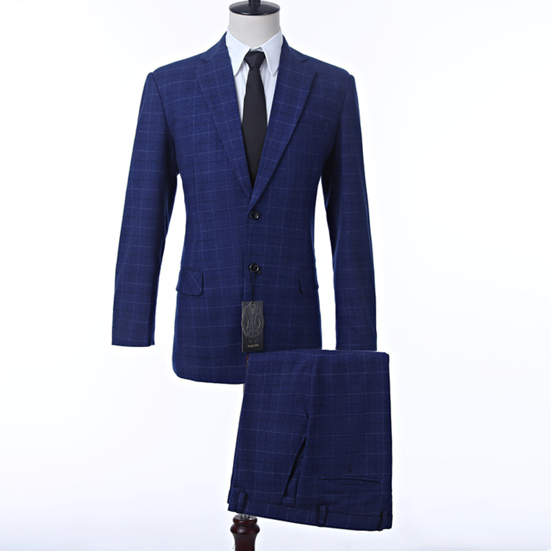 New Royal Blue Plaid Men's Suits Jacket Formal Business Blazer Wedding Groom Tuxedos Three Pieces Slim Prom Party Best Man Suit.