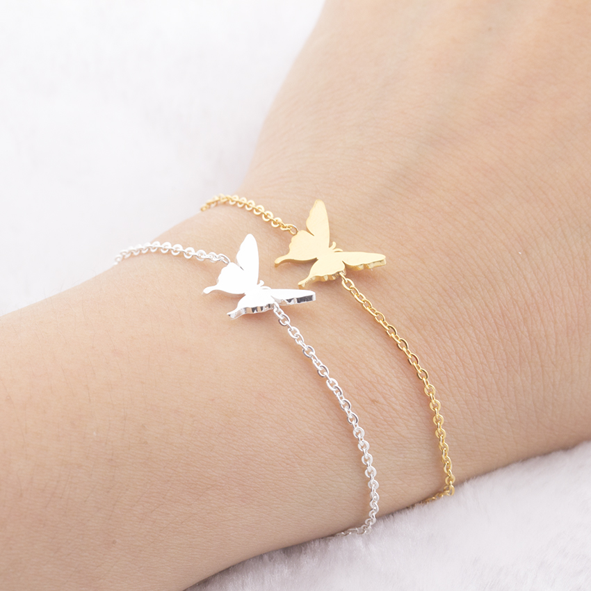 V Attract Cute Beautiful Butterfly Charm Bracelet Girls Kids Hand Chain Silver Color Beste vriend Women's Beach Bracelet