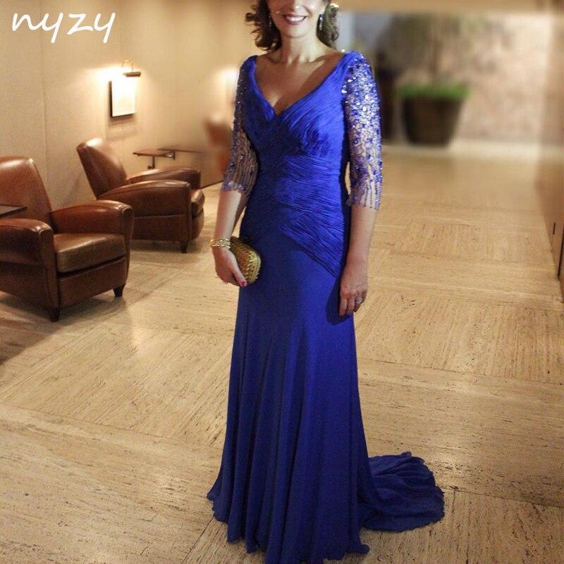 8221ed1015f NYZY M59 ярко-синий Длинный мать невесты платья с рукавами 3 4 2019  Свадебная