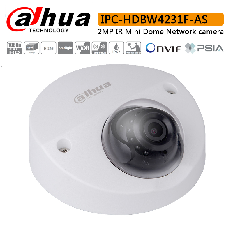 Original Dahua IPC HDBW4231F AS 2MP IR Mini Dome Network camera with Max IR LEDs Length