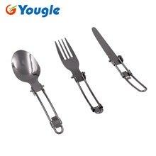 YOUGLE al aire libre de acero inoxidable de cuchillo, tenedor, cuchara plegables Picnic Camping vajilla