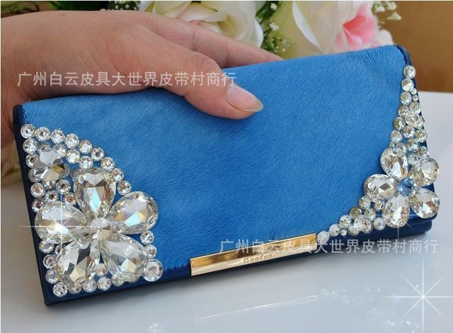 2014 Direct Selling Top Fasion Free Shipping!2013 Latest Fashion Genuine Leather Horsehair Fake Diamond Women Long Wallet Purse