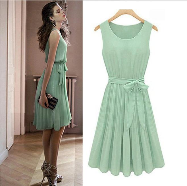 Verwonderlijk Vintage Womens Pleated Mint Green Sleeveless Belted Chiffon Dress FA-07