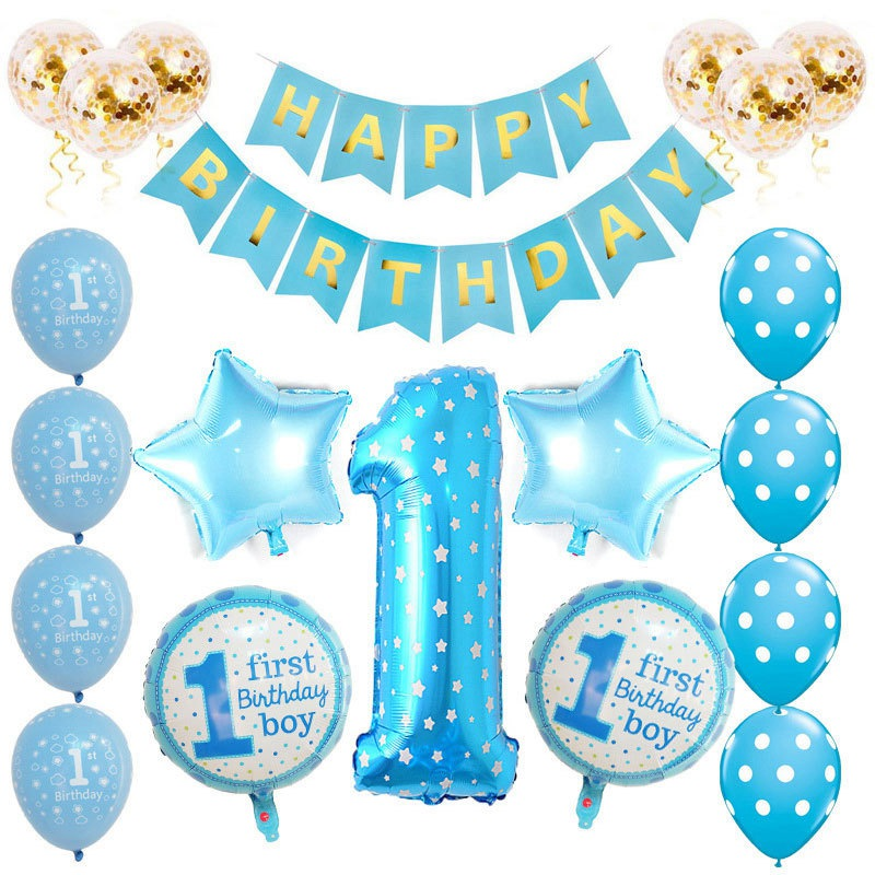 1st birthday balloon set baby boy/girl sequins balloon ...